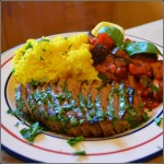 Steak with Ratatouille & Saffron Rice