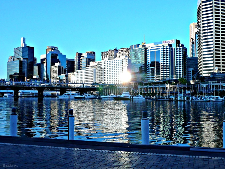 Darling Harbour, Sydney Australia (2012) looking back at CBD, late afternoon.